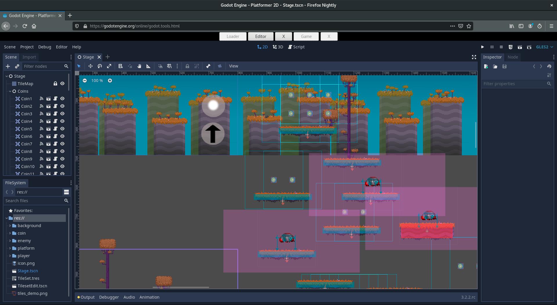 Среда проектирования игр Godot адаптирована для работы в web-браузере